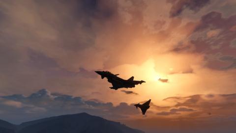 Hai chiec Typhoon roi khi dang tap danh chan may bay Nga