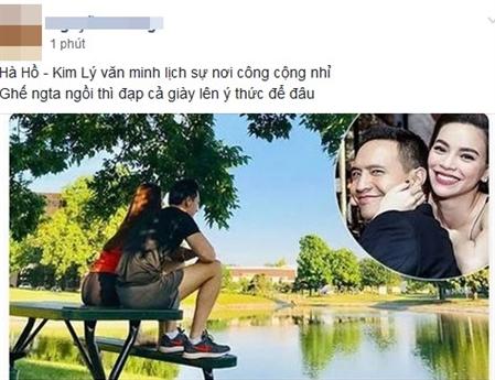 Hà Hồ và Kim Lý mới đây cũng bị phê bình khi ngồi lên bàn trong chuyến nghỉ dưỡng ở nước ngoài của cặp đôi này.