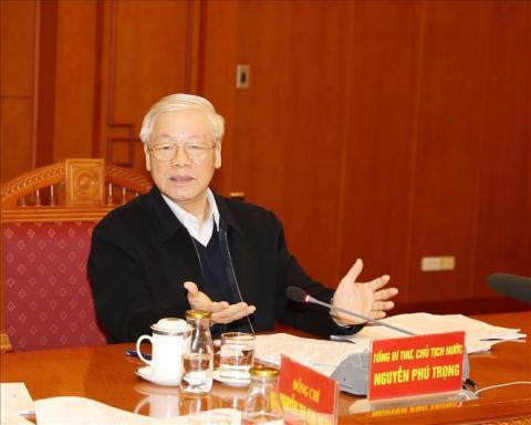 Tong Bi thu Nguyen Phu Trong hop Tieu ban Van kien