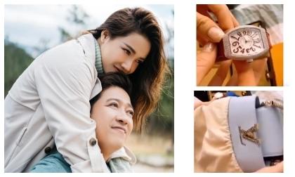 Làng giải trí tiếp tục có một phen ngỡ ngàng khi Nhã Phương khoe quà được Trường Giang dành tặng. Đó là một chiếc đồng hồ đến từ thương hiệu nổi tiếng Hublot màu đen và viền toàn kim cương có giá khoảng 4-500 triệu. Cùng với đó là chiếc túi trị giá 70 triệu của Louis Vuiton.