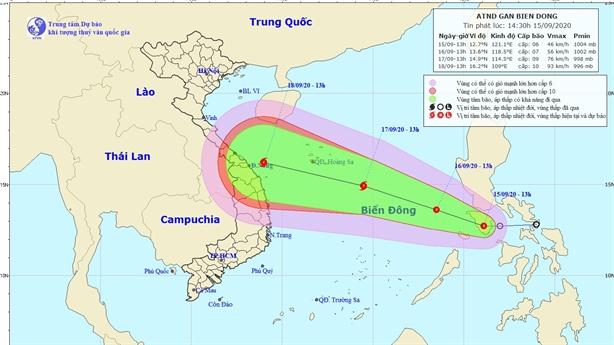 Xuất hiện áp thấp nhiệt đới gần Biển Đông