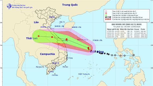 Bão số 5 gây mưa lớn từ Hà Tĩnh đến Quảng Ngãi