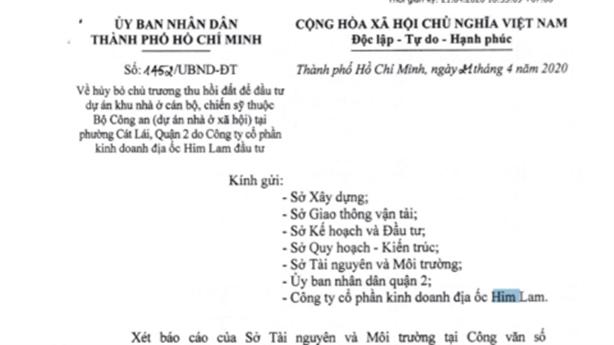 Vì sao TP.HCM thu hồi chủ trương cho dự án Him Lam?