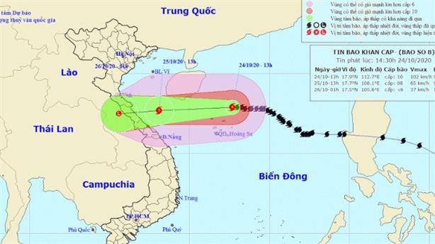 Đêm nay bão gây mưa diện rộng Nghệ An - Thừa Thiên Huế