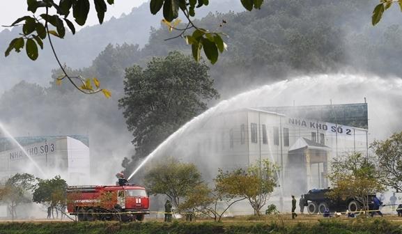 Theo QĐND, tình huống đề ra trong cuộc diễn tập là ứng phó sự cố môi trường quy mô liên tỉnh năm 2020, với tình huống giả định xảy ra cháy nổ kho chứa Amoni nitrat.