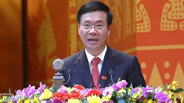 Ông Võ Văn Thưởng phát biểu tại phiên bế mạc ĐH XIII