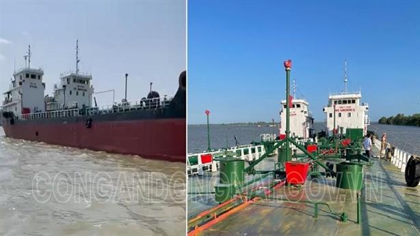 Tàu chở xăng lậu sơn lại vẫn không thoát khỏi công an