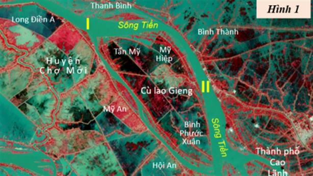 Sông Tiền giữa Chợ Mới và từ Thanh Bình đến Cao Lãnh