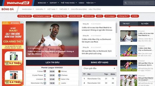 Web Thể Thao 247- Báo thể thao được nhiều người xem nhất