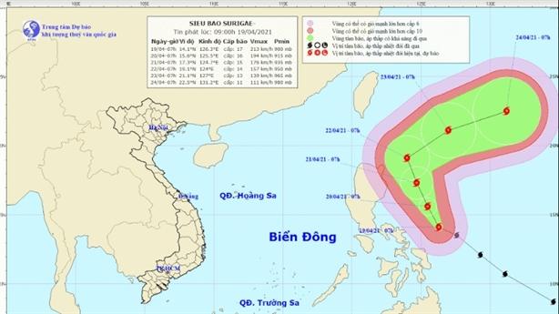 Khả năng siêu bão Surigae không vào Biển Đông