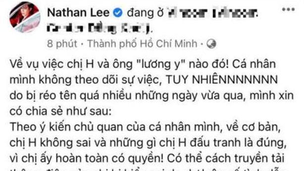 Nathan Lee bênh vực đại gia Phương Hằng: Đấu tranh là đúng