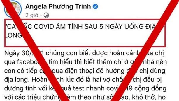 Yêu cầu Angela Phương Trinh gỡ thông tin giun đất chữa COVID-19