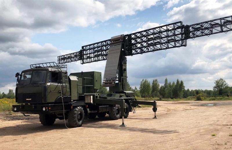 Tổ hợp radar 3D Vostok-3D được nhìn thấy trong cuộc tập trận Zapad-2021 ở thao trường Vùng Astrakhan, Nga.
