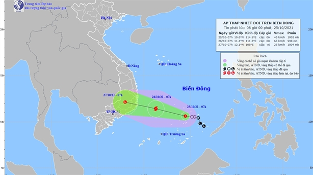 Vùng áp thấp trên biển mạnh thành áp thấp nhiệt đới